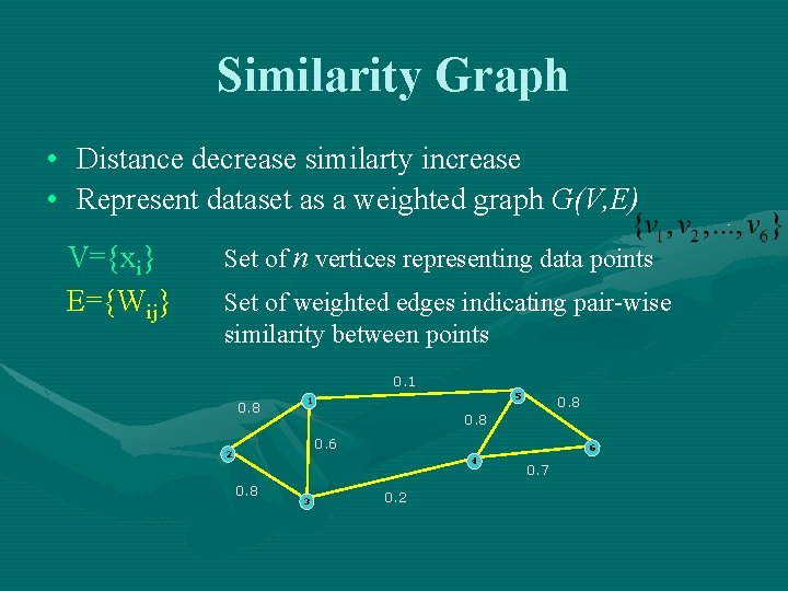 Similarity Graph • Distance decrease similarty increase • Represent dataset as a weighted graph