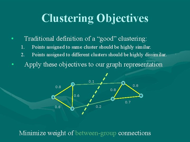 """Clustering Objectives • Traditional definition of a """"good"""" clustering: 1. 2. • Points assigned"""