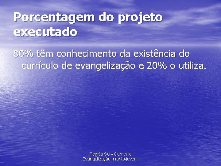 Porcentagem do projeto executado 80% têm conhecimento da existência do currículo de evangelização e