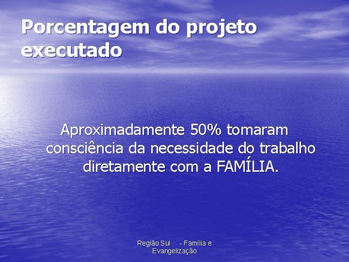 Porcentagem do projeto executado Aproximadamente 50% tomaram consciência da necessidade do trabalho diretamente com