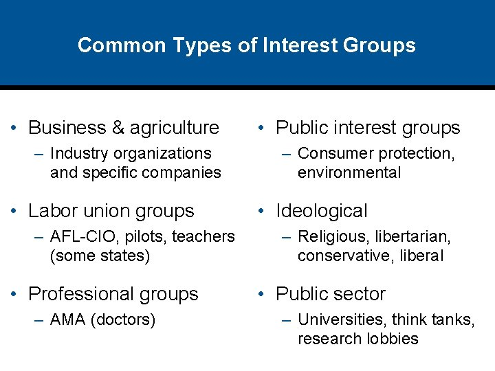 Common Types of Interest Groups • Business & agriculture – Industry organizations and specific