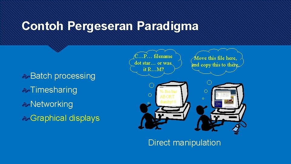 Contoh Pergeseran Paradigma Batch processing Timesharing Networking C…P… filename dot star… or was it