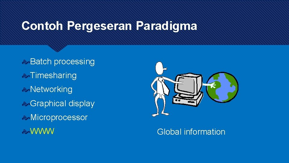 Contoh Pergeseran Paradigma Batch processing Timesharing Networking Graphical display Microprocessor WWW Global information
