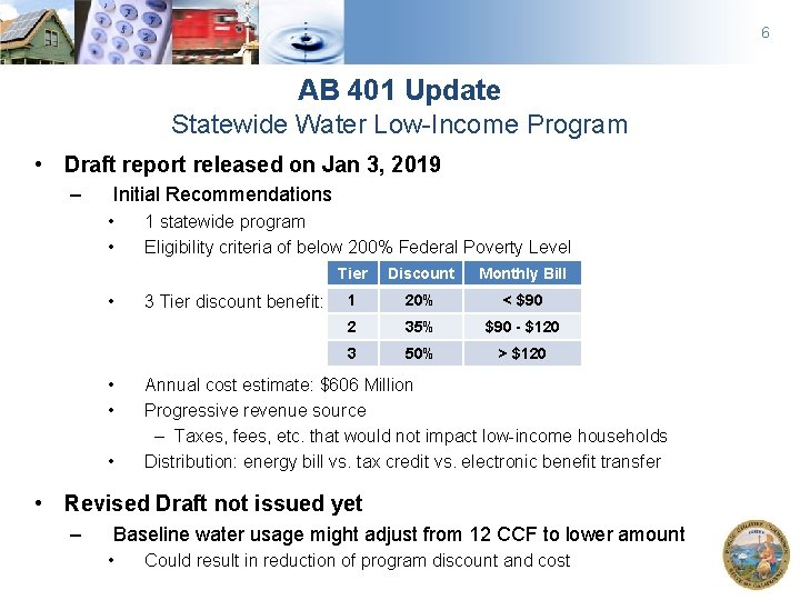 6 AB 401 Update Statewide Water Low-Income Program • Draft report released on Jan