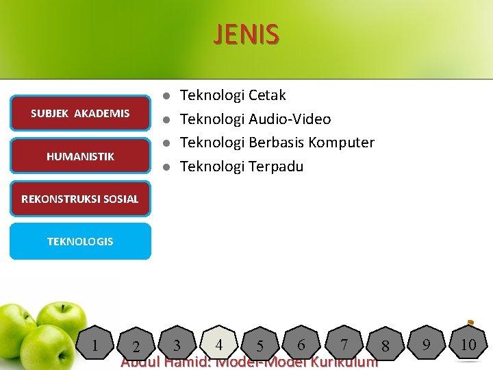 JENIS l SUBJEK AKADEMIS l l HUMANISTIK l Teknologi Cetak Teknologi Audio-Video Teknologi Berbasis