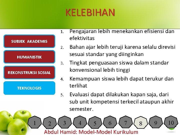 KELEBIHAN 1. SUBJEK AKADEMIS 2. HUMANISTIK 3. REKONSTRUKSI SOSIAL 4. TEKNOLOGIS 5. 1 Pengajaran