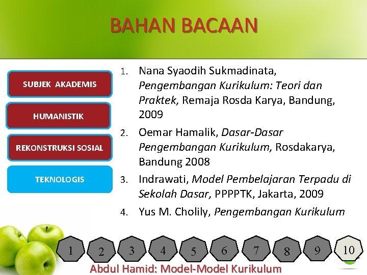 BAHAN BACAAN Nana Syaodih Sukmadinata, Pengembangan Kurikulum: Teori dan Praktek, Remaja Rosda Karya, Bandung,