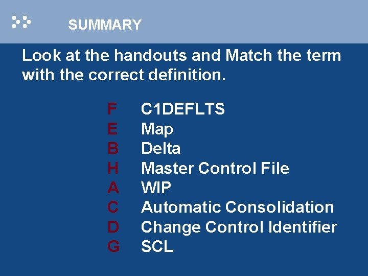SUMMARY Look at the handouts and Match the term with the correct definition. F
