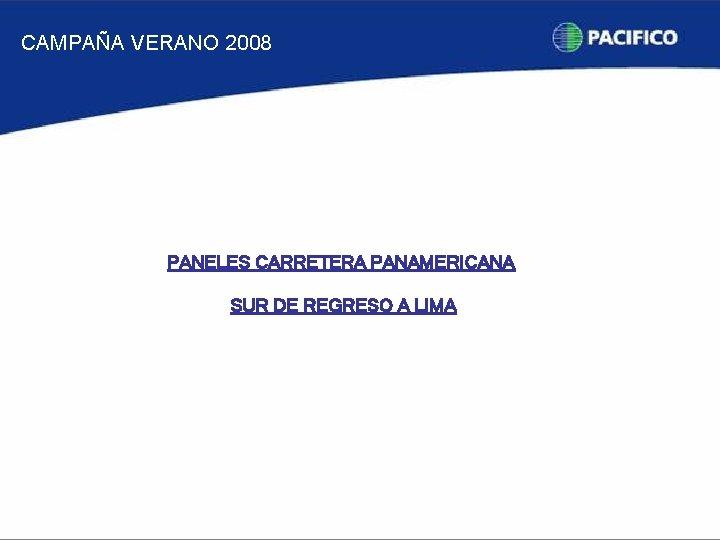 CAMPAÑA VERANO 2008 PANELES CARRETERA PANAMERICANA SUR DE REGRESO A LIMA