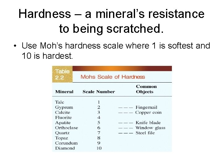 Hardness – a mineral's resistance to being scratched. • Use Moh's hardness scale where