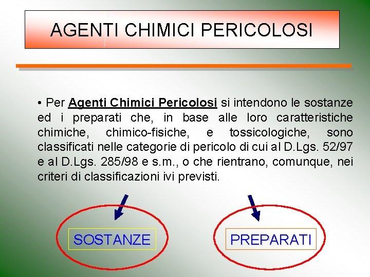 AGENTI CHIMICI PERICOLOSI • Per Agenti Chimici Pericolosi si intendono le sostanze ed i