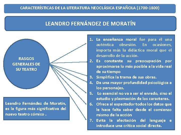 CARACTERÍSTICAS DE LA LITERATURA NEOCLÁSICA ESPAÑOLA (1700 -1800) LEANDRO FERNÁNDEZ DE MORATÍN RASGOS GENERALES