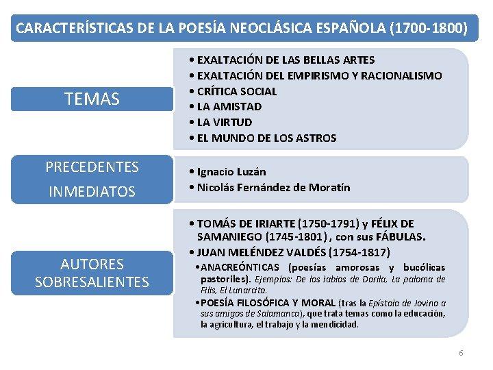 CARACTERÍSTICAS DE LA POESÍA NEOCLÁSICA ESPAÑOLA (1700 -1800) TEMAS PRECEDENTES INMEDIATOS AUTORES SOBRESALIENTES •