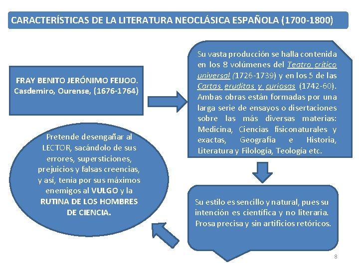 CARACTERÍSTICAS DE LA LITERATURA NEOCLÁSICA ESPAÑOLA (1700 -1800) FRAY BENITO JERÓNIMO FEIJOO. Casdemiro, Ourense,