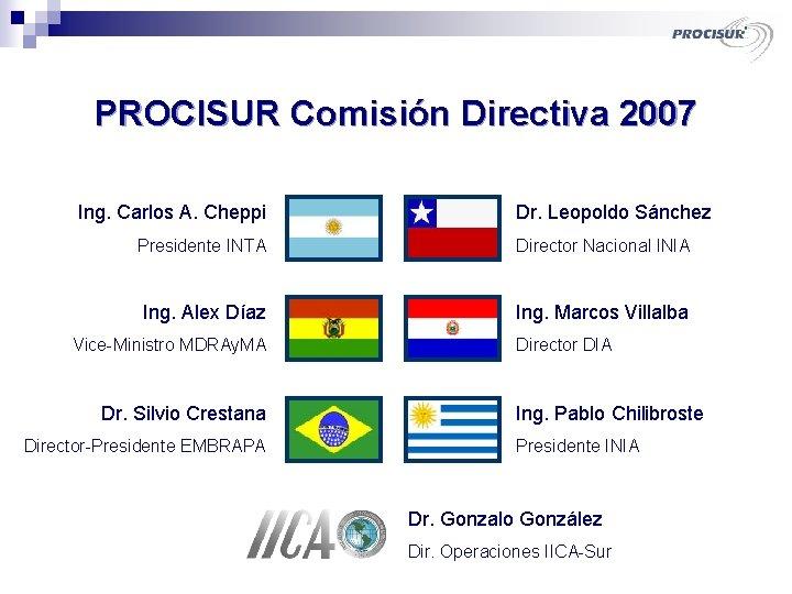 PROCISUR Comisión Directiva 2007 Ing. Carlos A. Cheppi Dr. Leopoldo Sánchez Presidente INTA Director
