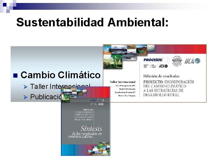 Sustentabilidad Ambiental: n Cambio Climático Taller Internacional Ø Publicación Ø
