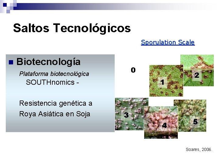 Saltos Tecnológicos Sporulation Scale n Biotecnología 0 Plataforma biotecnológica 1 SOUTHnomics Resistencia genética a