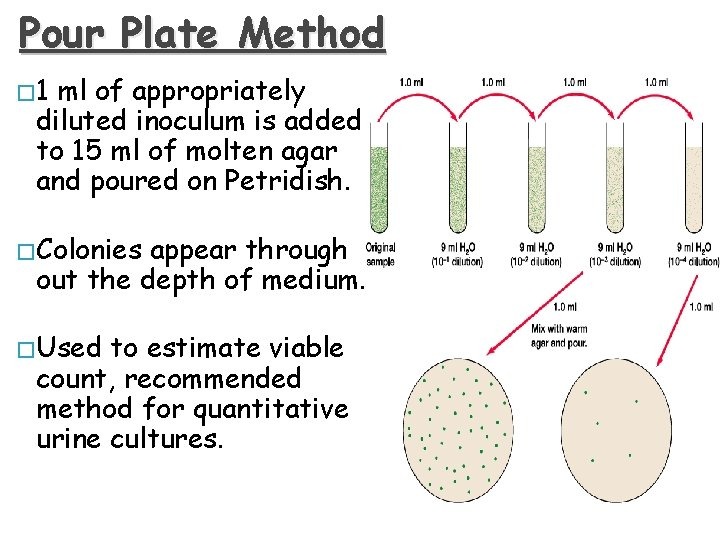Pour Plate Method � 1 ml of appropriately diluted inoculum is added to 15