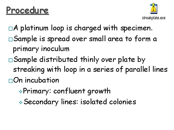 Procedure �A platinum loop is charged with specimen. �Sample is spread over small area