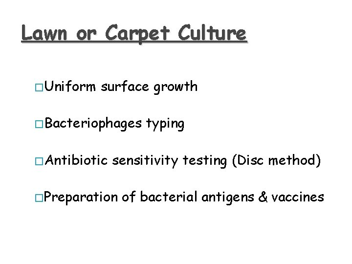 Lawn or Carpet Culture � Uniform surface growth � Bacteriophages � Antibiotic typing sensitivity