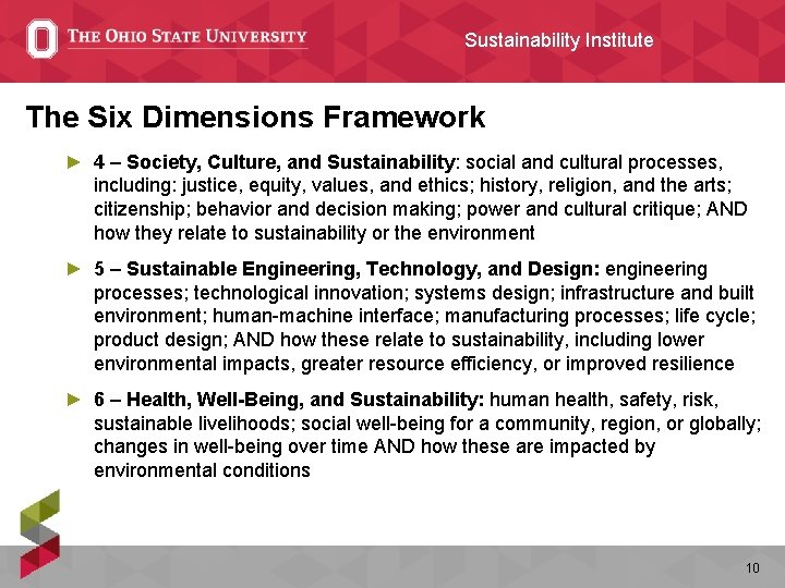 Sustainability Institute The Six Dimensions Framework ► 4 – Society, Culture, and Sustainability: social