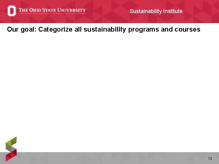 Sustainability Institute Our goal: Categorize all sustainability programs and courses 12