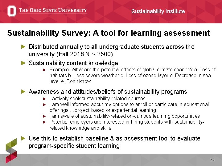 Sustainability Institute Sustainability Survey: A tool for learning assessment ► Distributed annually to all