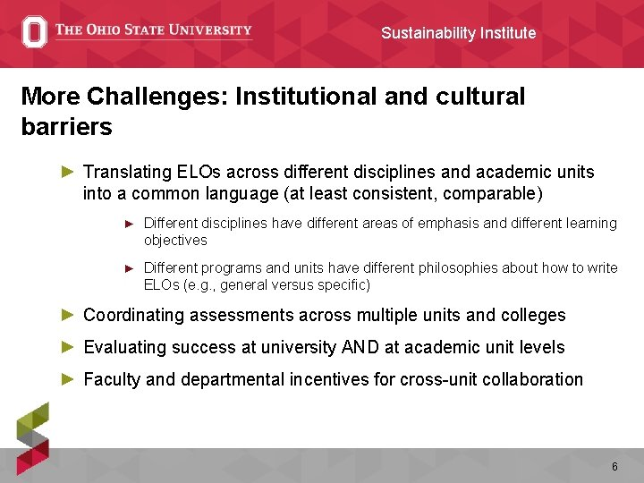 Sustainability Institute More Challenges: Institutional and cultural barriers ► Translating ELOs across different disciplines