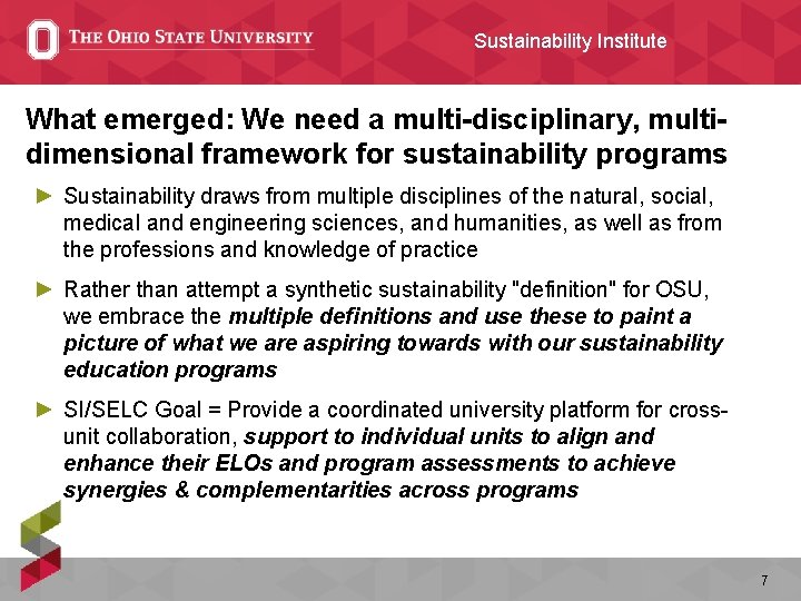 Sustainability Institute What emerged: We need a multi-disciplinary, multidimensional framework for sustainability programs ►