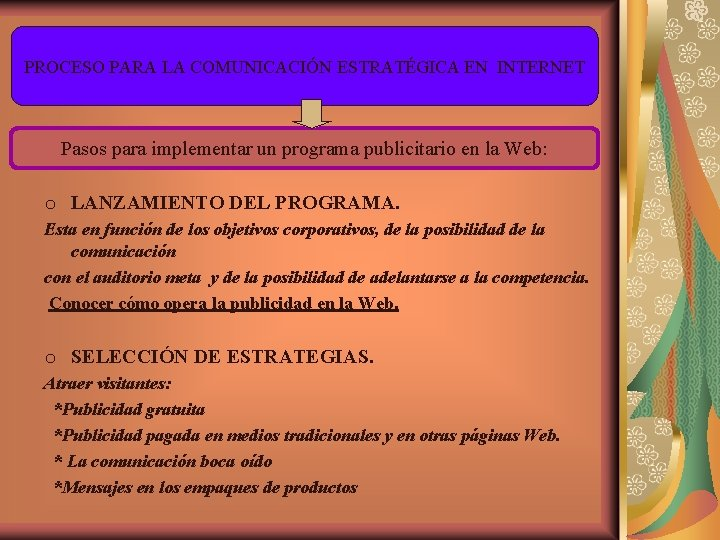 PROCESO PARA LA COMUNICACIÓN ESTRATÉGICA EN INTERNET Pasos para implementar un programa publicitario en