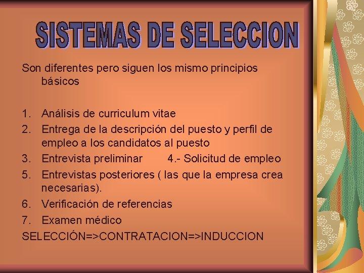 Son diferentes pero siguen los mismo principios básicos 1. Análisis de curriculum vitae 2.