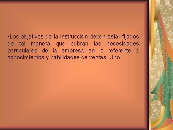 • Los objetivos de la instrucción deben estar fijados de tal manera que