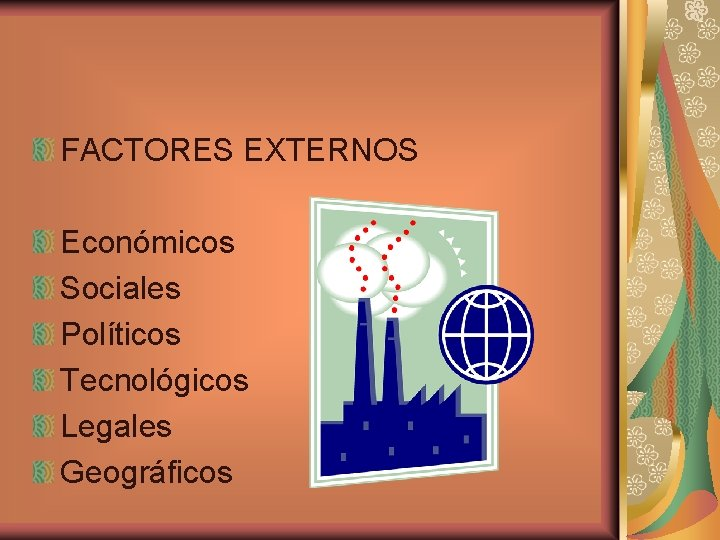 FACTORES EXTERNOS Económicos Sociales Políticos Tecnológicos Legales Geográficos