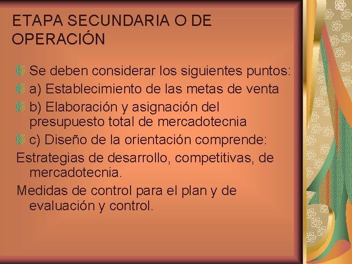 ETAPA SECUNDARIA O DE OPERACIÓN Se deben considerar los siguientes puntos: a) Establecimiento de
