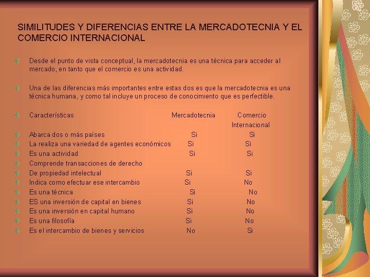 SIMILITUDES Y DIFERENCIAS ENTRE LA MERCADOTECNIA Y EL COMERCIO INTERNACIONAL Desde el punto de