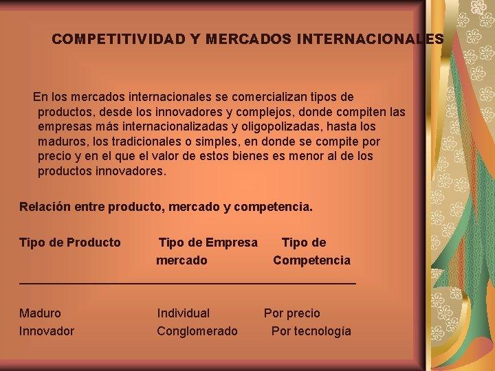 COMPETITIVIDAD Y MERCADOS INTERNACIONALES En los mercados internacionales se comercializan tipos de productos, desde