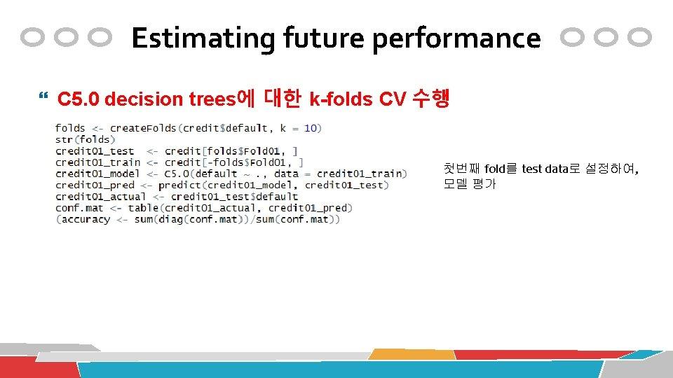 Estimating future performance C 5. 0 decision trees에 대한 k-folds CV 수행 첫번째 fold를