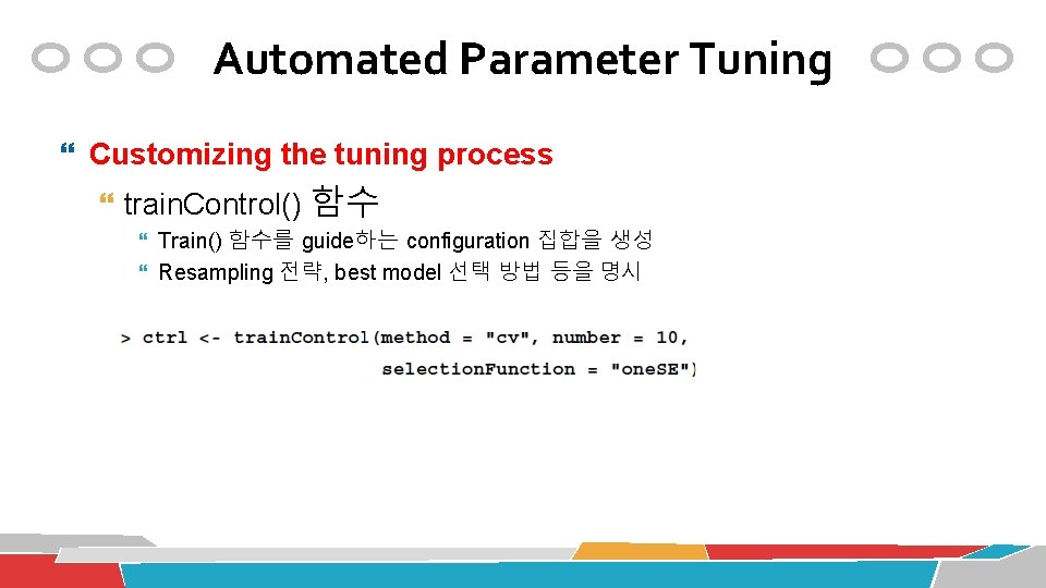 Automated Parameter Tuning Customizing the tuning process train. Control() 함수 Train() 함수를 guide하는 configuration