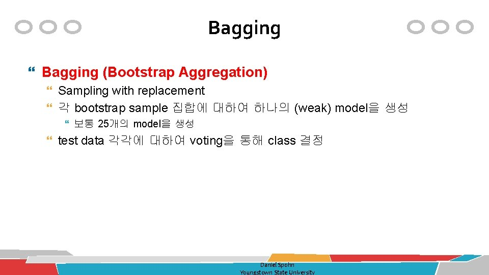 Bagging (Bootstrap Aggregation) Sampling with replacement 각 bootstrap sample 집합에 대하여 하나의 (weak) model을