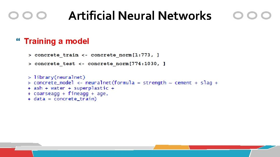 Artificial Neural Networks Training a model