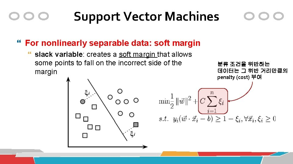 Support Vector Machines For nonlinearly separable data: soft margin slack variable: creates a soft