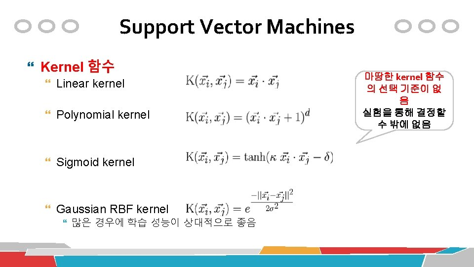 Support Vector Machines Kernel 함수 Linear kernel Polynomial kernel Sigmoid kernel Gaussian RBF kernel