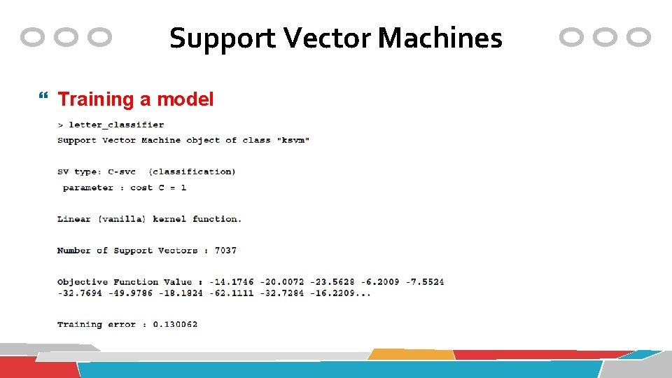 Support Vector Machines Training a model