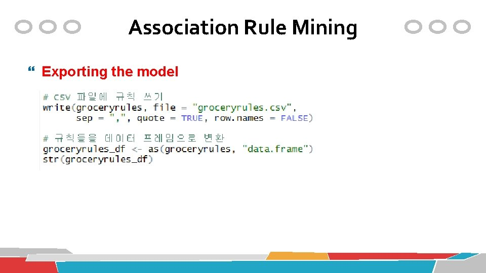 Association Rule Mining Exporting the model