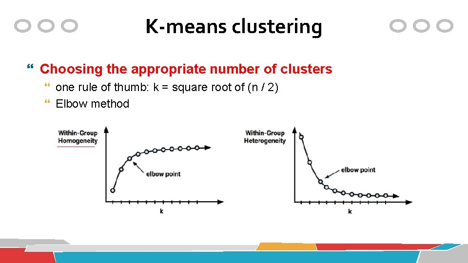 K-means clustering Choosing the appropriate number of clusters one rule of thumb: k =