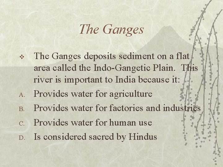 The Ganges v A. B. C. D. The Ganges deposits sediment on a flat