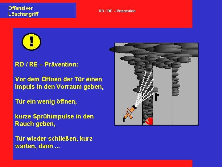 Offensiver Löschangriff RD / RE – Prävention ! RD / RE – Prävention: Vor