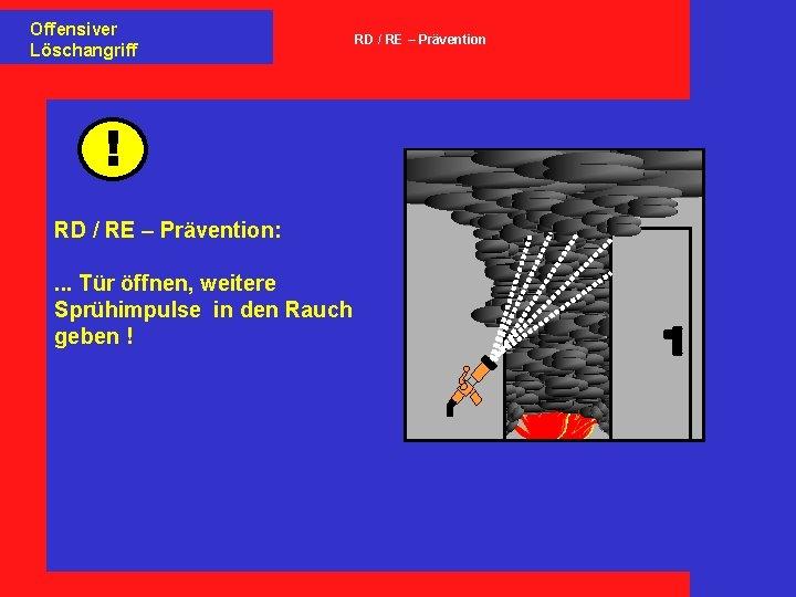 Offensiver Löschangriff ! RD / RE – Prävention: . . . Tür öffnen, weitere