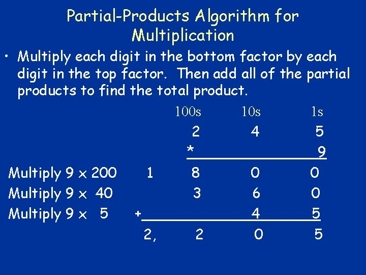 Partial-Products Algorithm for Multiplication • Multiply each digit in the bottom factor by each