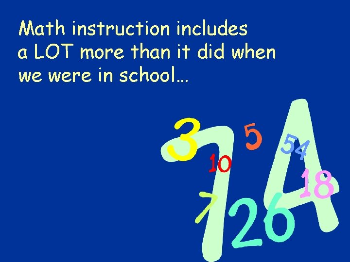 Math instruction includes a LOT more than it did when we were in school…